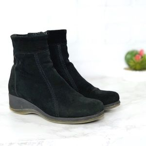 La Canadienne Black Suede All Weather Ankle Boots